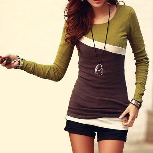 Stylish Scoop Neck Color Block Long Sleeve T-Shirt For Women - GREEN L