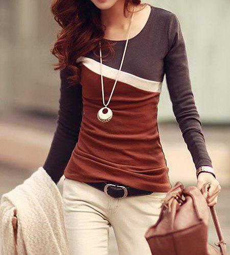 Stylish Scoop Neck Color Block Long Sleeve T-Shirt For Women - DUN L