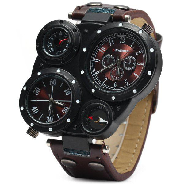 SHIWEIBAO J3104 Male 2 - movt Quartz Watch with Compass and Thermometer Leather Watchband - BROWN
