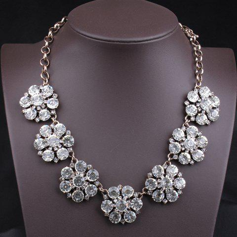 Chic Women's Rhinestone Solid Color Flower Necklace