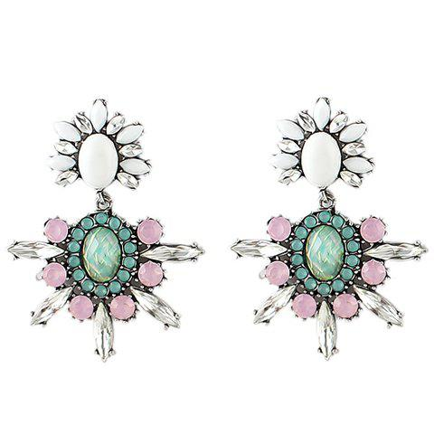 Pair of Dolce Women's Faux Gem Flower Earrings - AS THE PICTURE