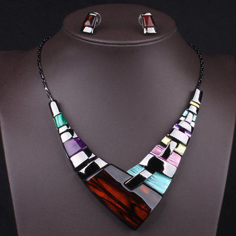 A Suit of Faux Gem Geometric Necklace and Earrings - AS THE PICTURE