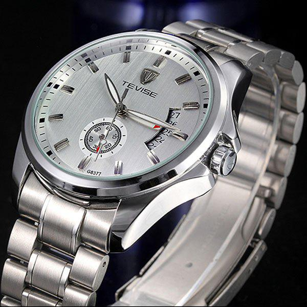 Tevise G8377 Indenpendent Second Hand Function Automatic Mechanical Watch Date Stainless Steel Strap Round Dial for Men yaskawa ac servo motor sgm a5a3nt14 second hand looks like new tested working