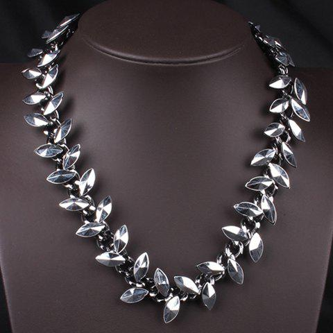 Punk Style Faux Gem Embellished Women's Necklace - SILVER
