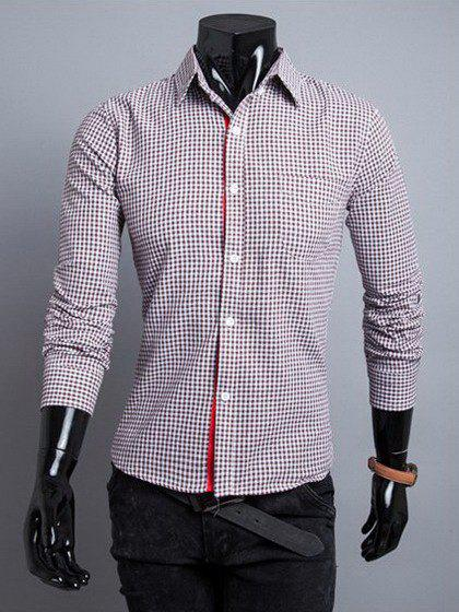 Stylish Shirt Collar Slimming Gingham Design Color Block Placket Long Sleeve Polyester Shirt For Men - COFFEE XL