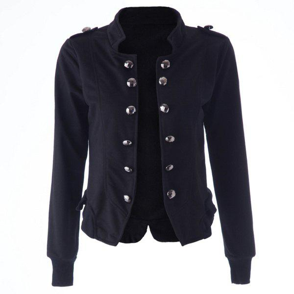 Women's Cotton Solid Color Double-breasted Fleece Lined Long Edition Stylish Coat - BLACK XL