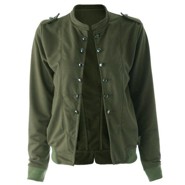 Women's Cotton Solid Color Double-breasted Fleece Lined Long Edition Stylish Coat - GREEN M