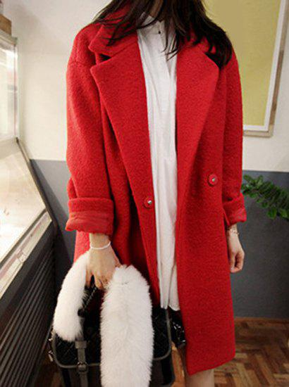 Fashionable Lapel Solid Color Faux Fur Splicing Long Sleeve Coat For Women - RED M