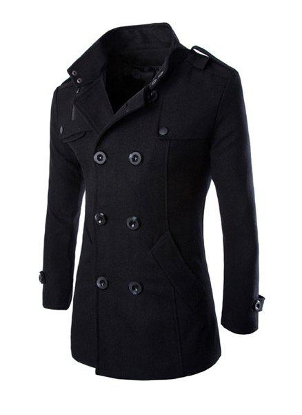 Trendy Stand Collar Shoulder Strap Embellished Slimming Solid Color Long Sleeves Men's Coat - BLACK L