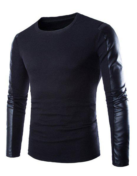 Trendy PU Leather Personality Splicing Round Neck Slimming Long Sleeves Men's Thicken T-Shirt - BLACK M