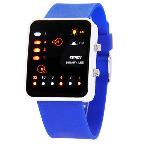 Skmei 0890 Binary LED Watch 30M Water Resistant Rubber Strap LED Lamp Display - BLUE