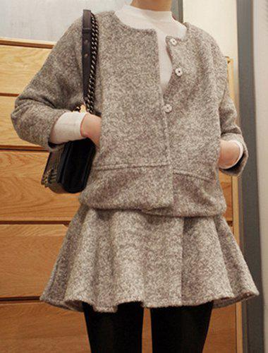 Sweet Round Collar Gray Long Sleeve Worsted Coat and Skirt Twinset For Women