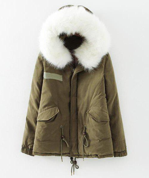 Hooded Solid Color Faux Fur Draw Cord Fashionable Long Sleeve Coat For Women - GREEN XL