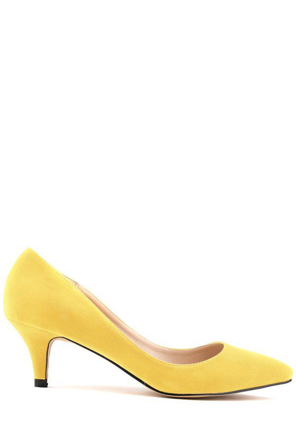Trendy Suede and Pointed Toe Design Women's Pumps - YELLOW 40