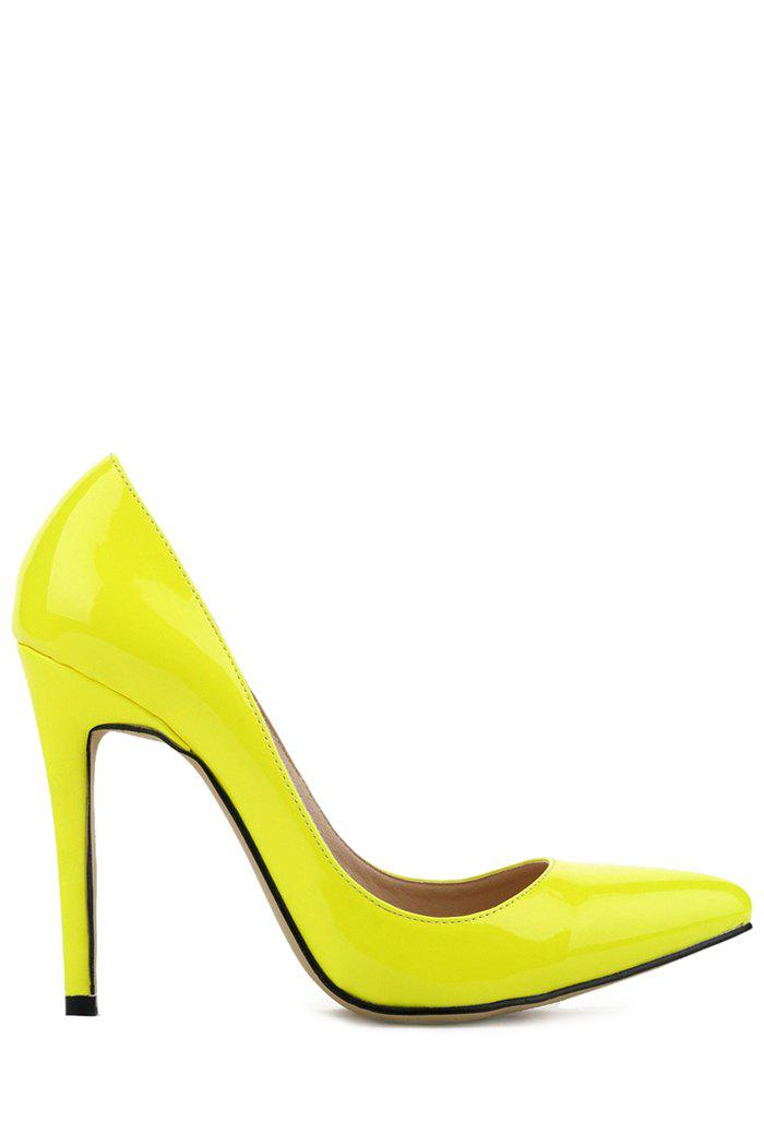 Gorgeous Patent Leather and Sexy High Heel Design Women's Pumps - DAFFODIL 42