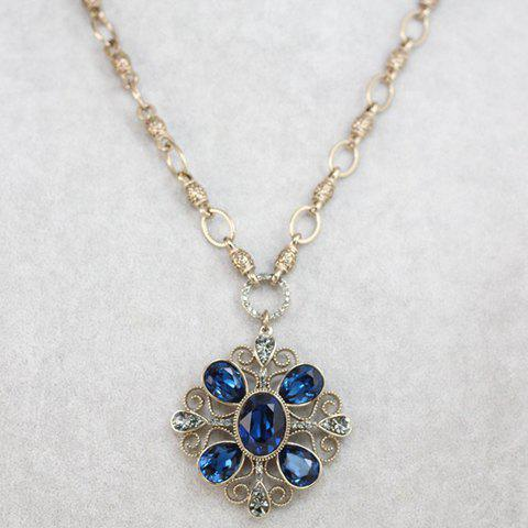 Chic Women's Rhinestone Square Flower Pendant Sweater Chain Necklace