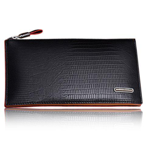 Trendy Style Zipper and Crocodile Print Design Wallet For Men - BLACK