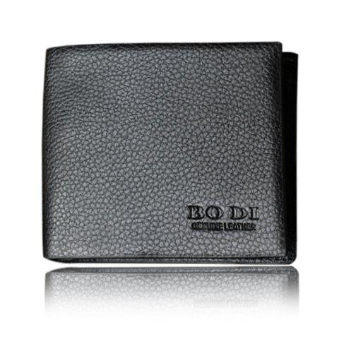 Laconic Style Letter Print and Solid Color Design Wallet For Men - BLACK