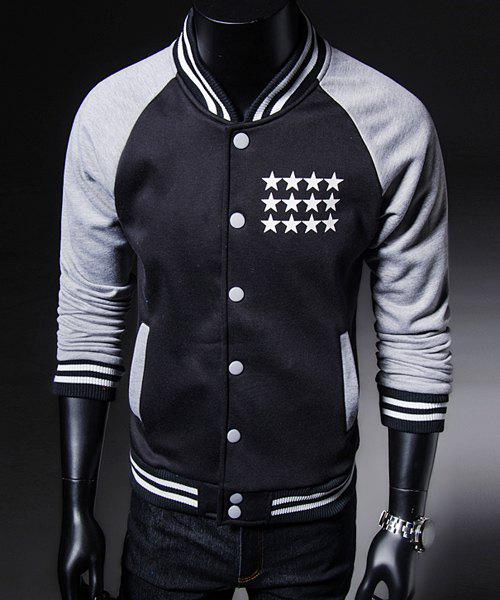 Slimming Letters and Five-Pointed Star Print Stand Collar Long Sleeves Men's Thicken Baseball Coat - BLACK XL