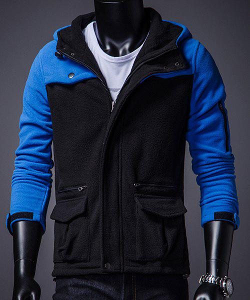 Trendy Hooded Multi-Zipper Design Slimming Color Block Long Sleeves Men's Thicken Hoodie - BLUE 2XL