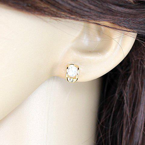 Pair of Fashionable Chic Women's Pea Shape Rhinestone Design Earrings - AS THE PICTURE