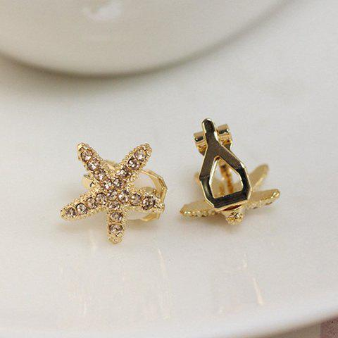 Pair of Stylish Chic Women's Rhinestone Starfish Shape Design Earrings