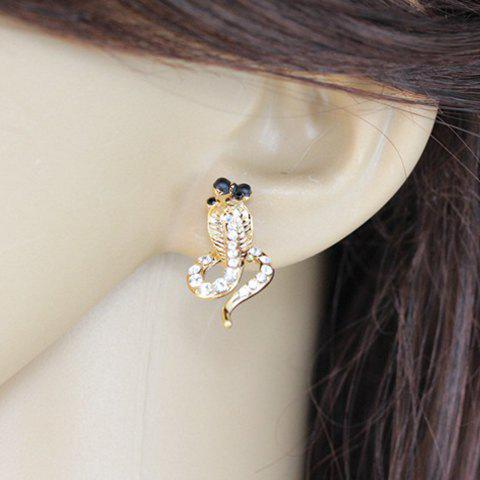 Pair of Sweet Cute Women's Rhinestone Snake Shape Design Earrings - AS THE PICTURE
