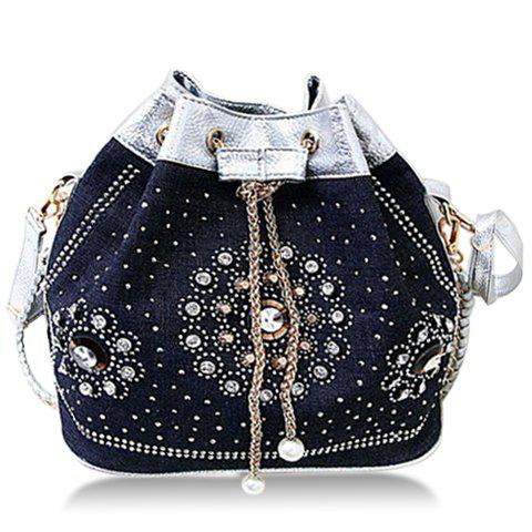 Stylish Chain and Rhinestones Design Shoulder Bag For Women - SILVER