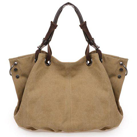 Casual Rivets and Canvas Design Tote Bag For Women - COFFEE