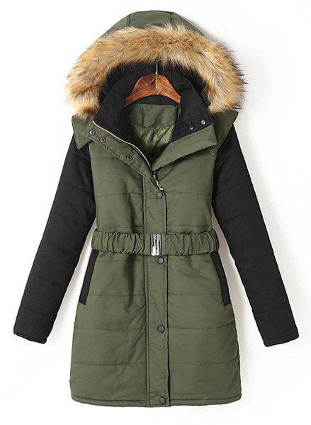 Casual Color Block Hooded Long Sleeve Coat with Belt For Women - ARMY GREEN L