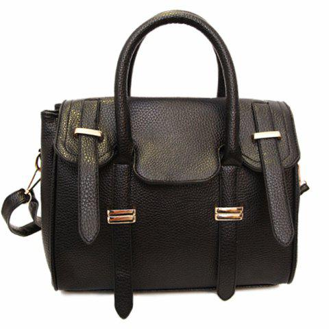 Gorgeous Belt and Metallic Design Tote Bag For Women - BLACK