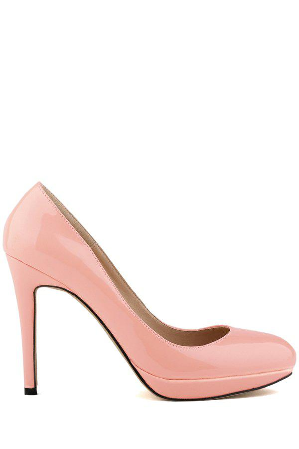 Simple Style Patent Leather and Sexy High Heel Design Women's Pumps - PINK 38