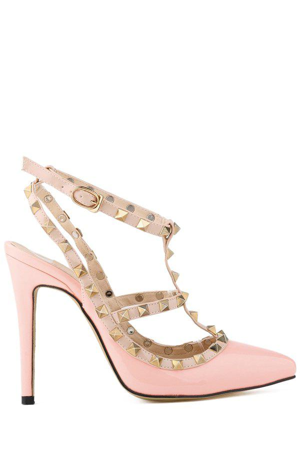Sexy Rivets and Patent Leather Design Women's Pumps - PINK 36