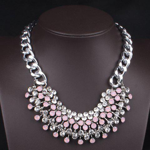 Stylish Diamante Arc-Shaped Pendant Necklace For Women - PINK