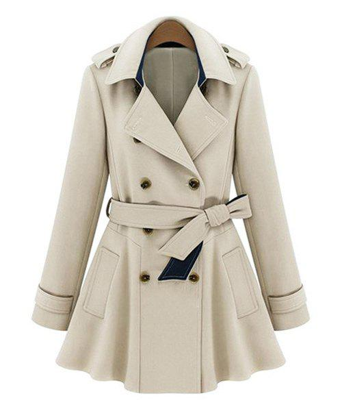 Stylish Women's Turn-Down Collar Long Sleeves Solid Color Double Breasted Trench Coat stylish turn down collar long sleeves solid color women s long woolen coat