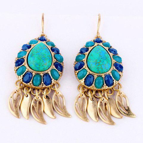 Pair of Chic Leaves Pendant Earrings For Women - TURQUOISE