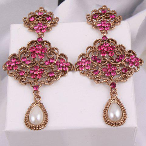 Pair of Stylish Women's Rhinestone Openwork Flower Faux Pearl Pendant Earrings