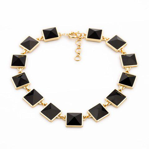 Chic Women's Rhinestone Square Necklace - AS THE PICTURE