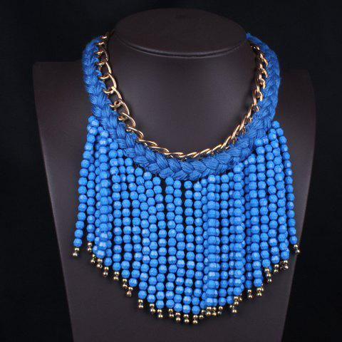 Stylish Beads Tassels Pendant Knitted Rope Necklace For Women - BLUE