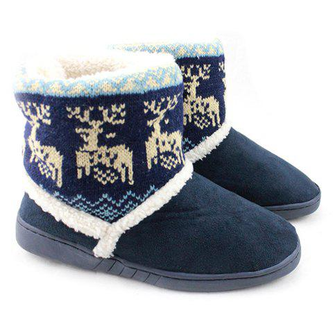 Fashionable Suede and Animal Pattern Design Snow Boots For Women