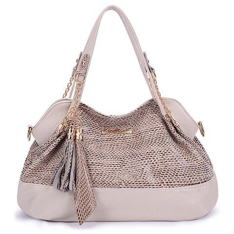 Fashionable Snake Print and Tassels Design Tote Bag For Women - OFF WHITE