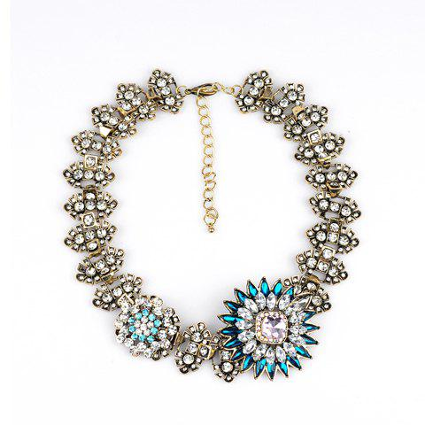 Stylish Diamante Floral Pattern Necklace For Women - GOLDEN