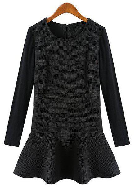 Brief Black Round Collar Flounced Hem Long Sleeve Dress For Women