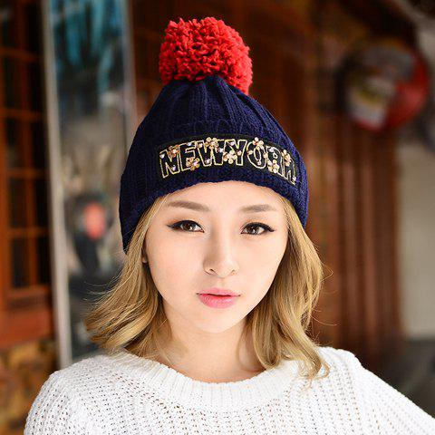 Chic Flower Shape and Patch Decorated Solid Color Women's Beanie - CADETBLUE