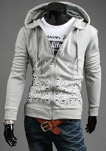 Modern Style Hooded Hoodle Print Slimming Solid Color Long Sleeves Men's Cotton Blend Hoodie - LIGHT GRAY 2XL