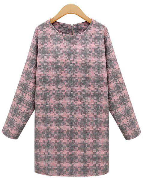 Elegant Style Round Neck Plaid Long Sleeve Dress For Women - PINK M