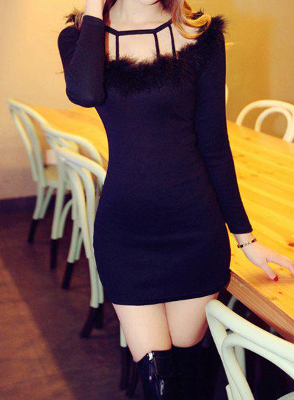 Sweet Solid Color Round Collar Faux Fur Splicing Long Sleeve Dress For Women - BLACK M