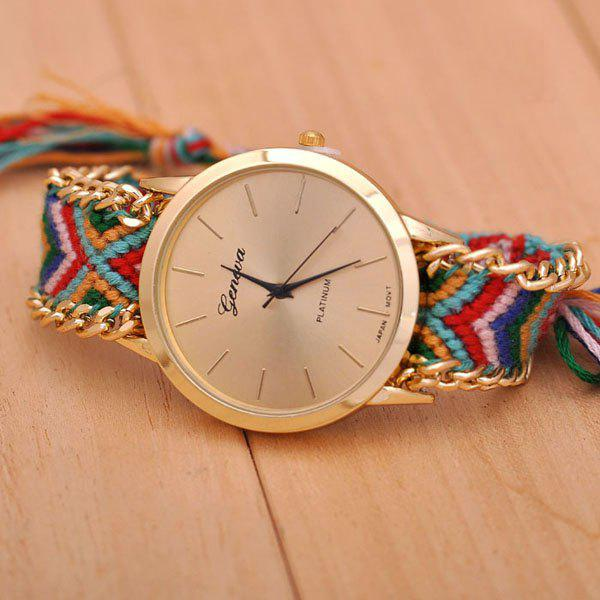 Geneva Weaving Draw Cord Round Dial Leisure Watch