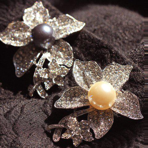 ONE PIECE Sweet Women's Rhinestone Faux Pearl Flower Brooch - COLOR ASSORTED