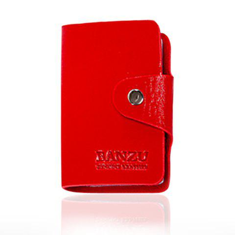 Trendy Solid Color and Button Design Card Case For Men - RED